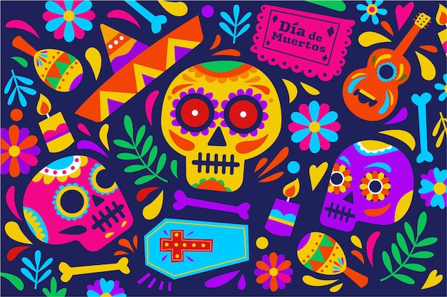 Fond De Dia De Muertos Au Design Plat Vecteur gratuit
