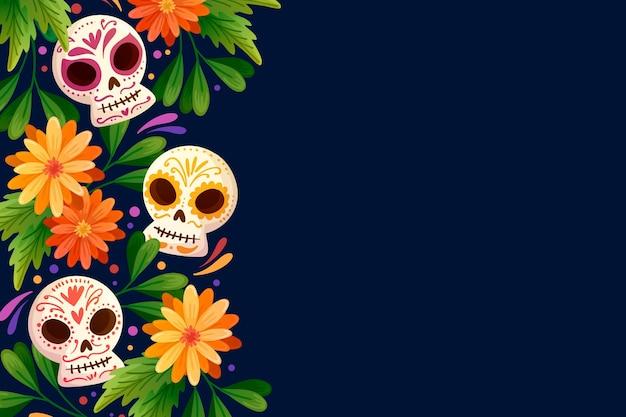 Fond de dia de muertos dessiné à la main