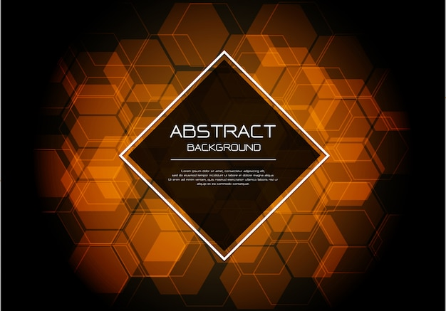 Fond de diamant noir hexagone orange