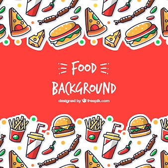 Fond avec différents aliments de préparation rapide