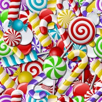 Fond avec différents bonbons colorés