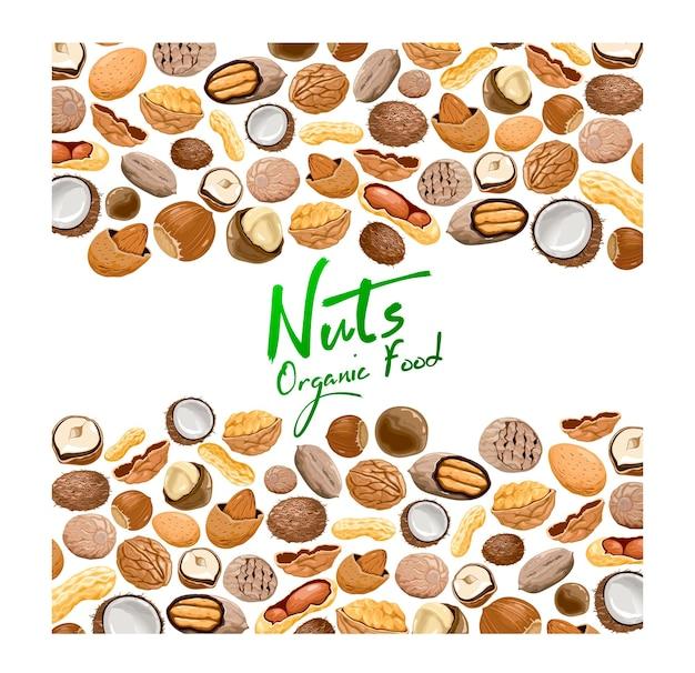 Fond avec différents types de noix.