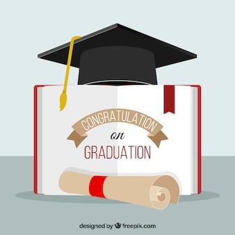 Fond de diplôme avec bireta, diplôme et livre ouvert