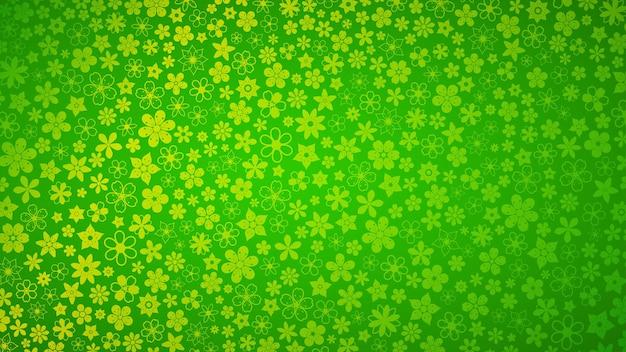 Fond de diverses petites fleurs dans des couleurs vert clair
