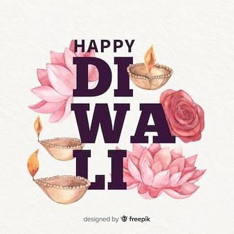 Fond de diwali à l'aquarelle