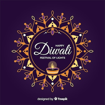 Fond de diwali au design plat