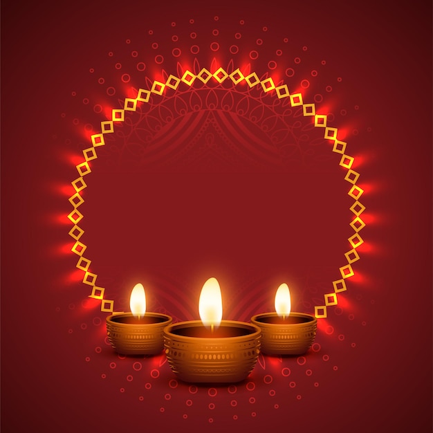 Fond de diwali brillant avec un design réaliste de diya