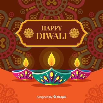 Fond de diwali coloré avec un design plat