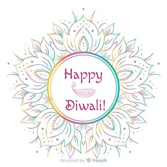 Fond de diwali dessiné à la main belle