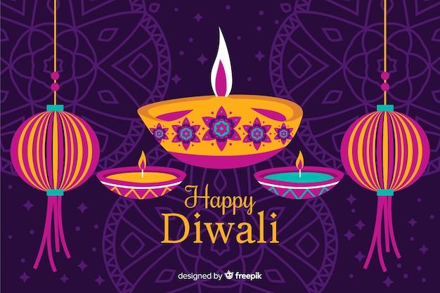 Fond de diwali dessiné à la main avec des bougies