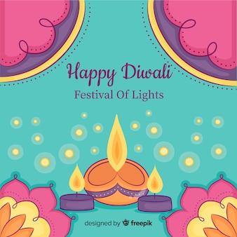 Fond de diwali dessiné main coloré