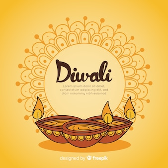 Fond de diwali dessiné main coloré
