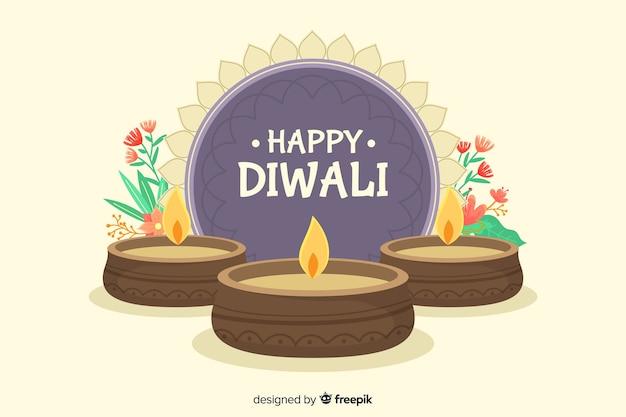 Fond de diwali dessiné à la main de soleil abstrait