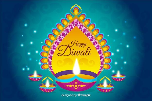 Fond de diwali dessiné à la main