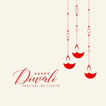 Fond de diwali diya suspendu rouge impressionnant