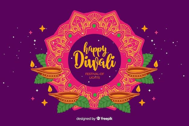 Fond de diwali heureux dessinés à la main