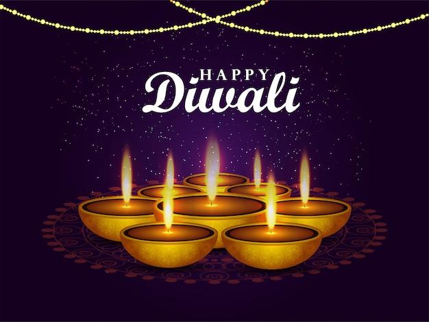 Fond de diwali heureux avec lampe à huile diwali