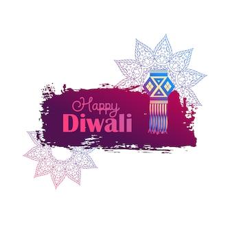 Fond de diwali heureux avec lampe suspendue