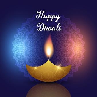 Fond de diwali avec une lampe à huile sur un motif décoratif de mandala