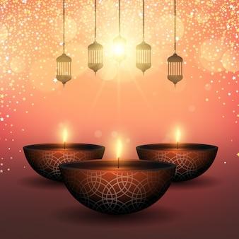 Fond de diwali avec des lampes à huile sur un fond étoilé