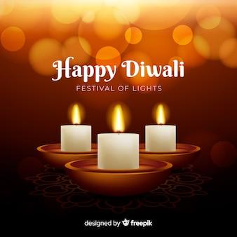 Fond de diwali réaliste avec des bougies