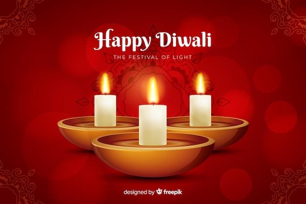 Fond de diwali rouge réaliste
