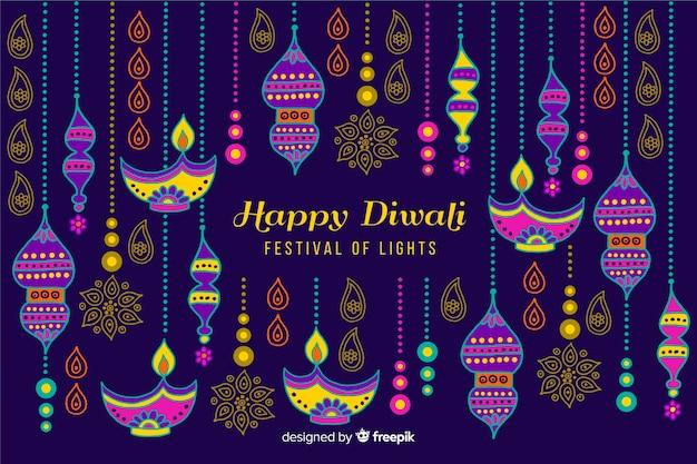 Fond de diwali style dessiné à la main