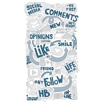 Fond de doodle dessiné à la main pour le sujet des médias sociaux
