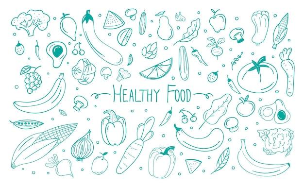 Fond de doodle de nourriture saine dessinés à la main fond de doodle de légumes