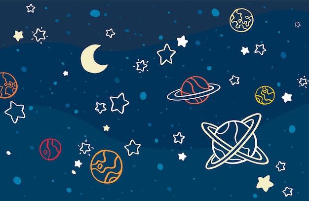 Fond de doodles galaxie dessinés à la main