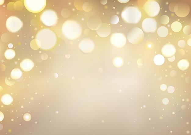 Fond doré de bokeh avec des lumières étincelantes