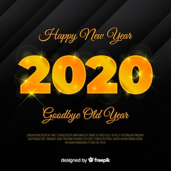 Fond doré du nouvel an 2020