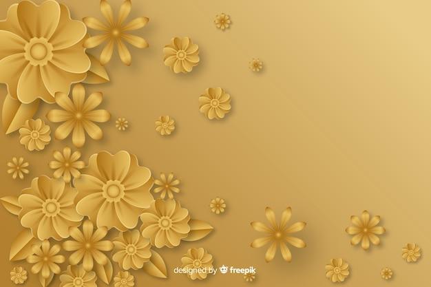Fond doré avec des fleurs 3d