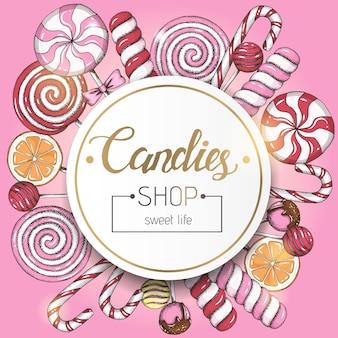 Fond doux avec des sucettes et cadre avec du texte en rose. magasin de bonbons. lettrage écrit à la main.