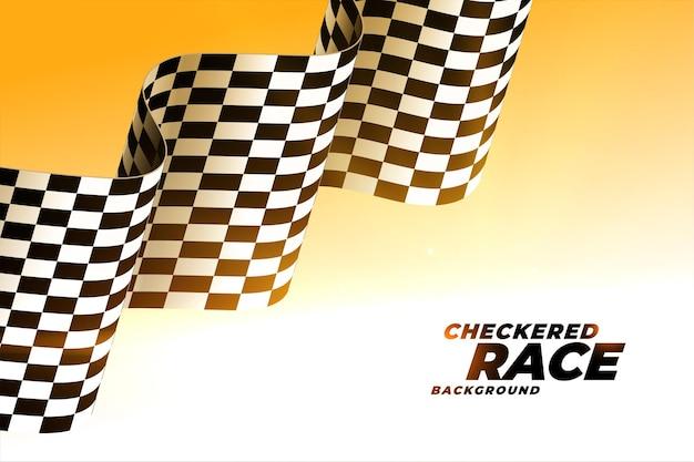 Fond de drapeau de course ondulé à damier