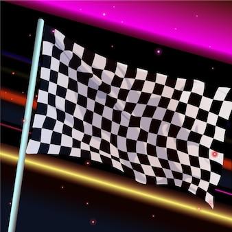 Fond de drapeau à damier de course réaliste