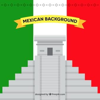 Fond de drapeau du mexique avec chichen itza