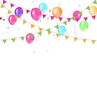 Fond de drapeaux et de ballons colorés festifs