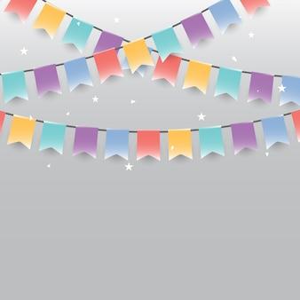 Fond de drapeaux festifs et confettis de guirlandes colorées