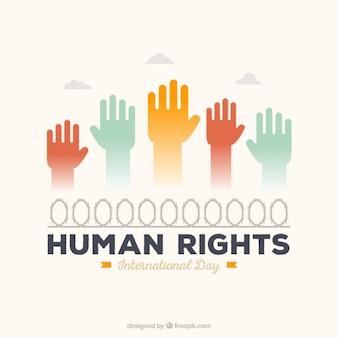 Fond des droits de l'homme avec les mains colorées