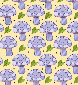 Fond drôle de dessin animé de champignons mignons