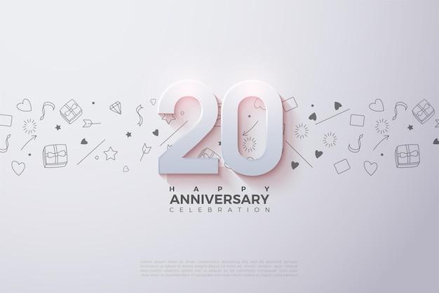 Fond du 20e anniversaire avec des chiffres et un fond blanc brillant