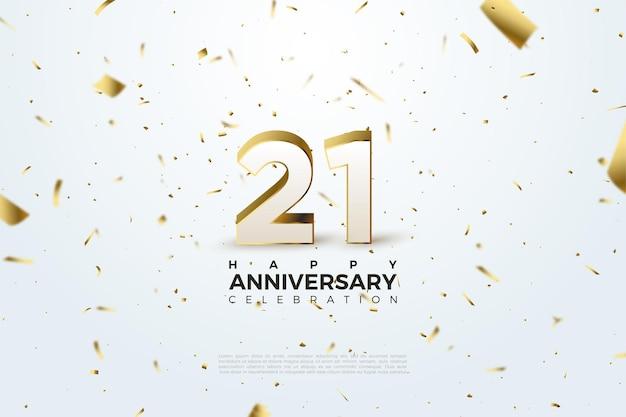 Fond du 21e anniversaire avec des nombres dispersés et des illustrations de feuille d'or.