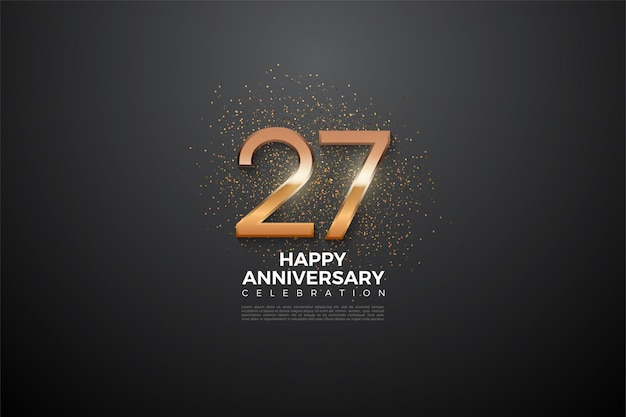 Fond du 27e anniversaire avec des chiffres brillants au centre.