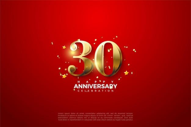 Fond du 30e anniversaire avec illustration de chiffres dorés réfléchissant la lumière