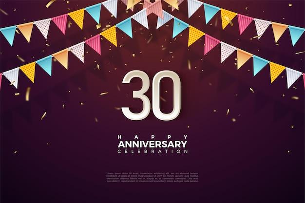 Fond du 30e anniversaire avec illustration du drapeau coloré et numéros juste en dessous