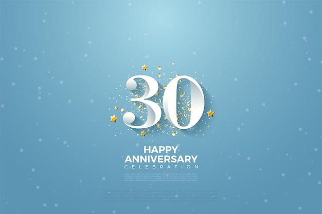 Fond du 30e anniversaire avec illustration de figures de ciel