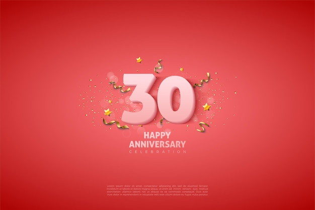 Fond du 30e anniversaire avec illustration de nombres blancs fanés