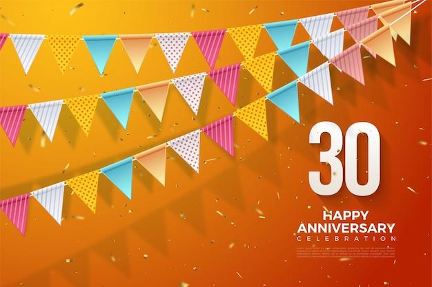 Fond du 30e anniversaire avec une illustration de trois rangées de drapeaux colorés et de chiffres en bas à droite