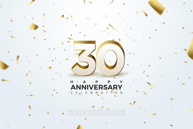 Fond du 30e anniversaire avec des petites illustrations en papier doré volantes